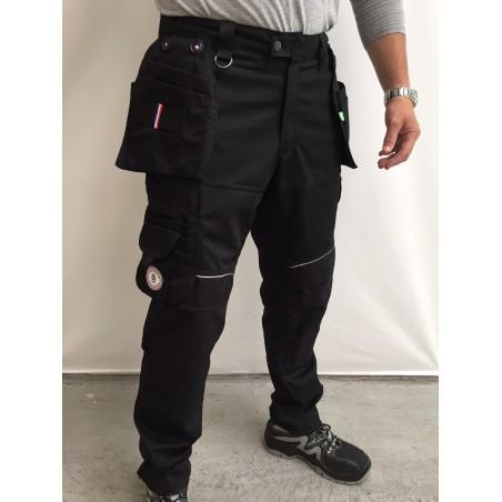 pantalon de travail PXIII AGA noir surpiqûres noires L'ARTISAN FRANÇAIS