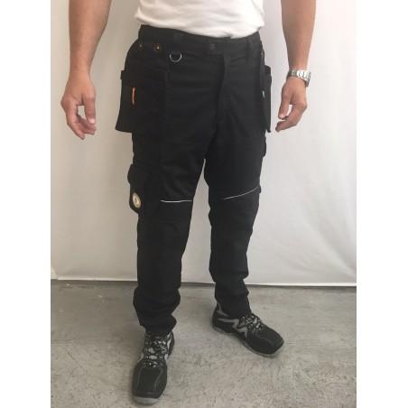pantalon de travail PXIII AGA noir surpiqûres noires L'ARTISAN BELGE
