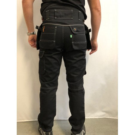 Pantalon de travail PXIII noir surpiqûres blanches L'ARTISAN BELGE