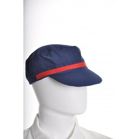 Casquette marine bande rouge