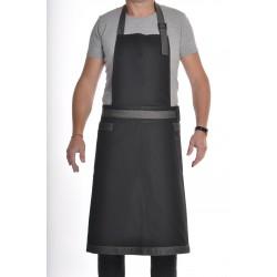 Tablier de cuisine mixte noir et denim