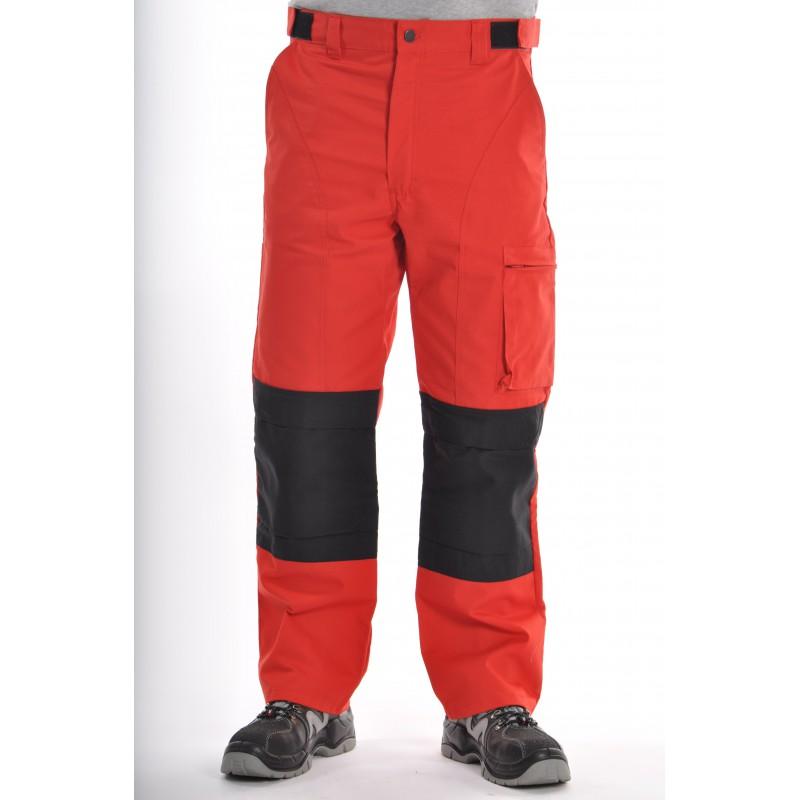 Pantalon Multipoches Rouge avec genouillères amovibles