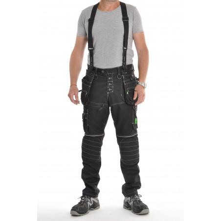 Pantalon de travail PXIV AGF noir avec bretelles