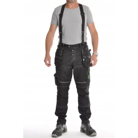 Pantalon de travail PXIV AGA noir avec bretelles