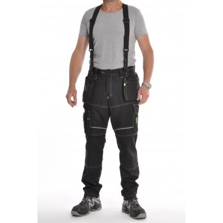 Pantalon de travail  PXIII AGA noir surpiqûres blanches avec bretelles