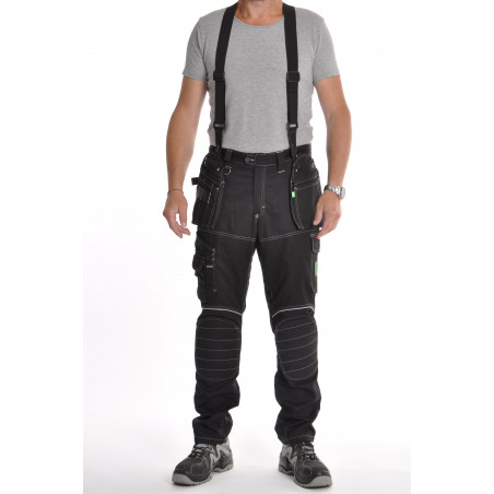 Pantalon de travail PXIII AGF noir avec bretelles