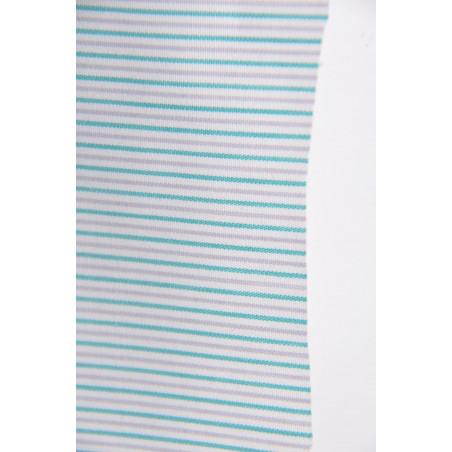 Tissu 1237, Popeline, 160g/m², Rayé vert gris blanc