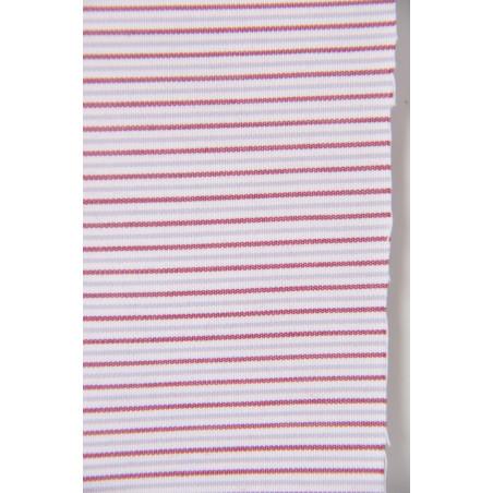 Tissu 1237, Popeline, 160g/m², Rayé bordeaux gris blanc