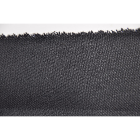 Tissu Croisé Retors, 100% coton, 330g/m², Noir
