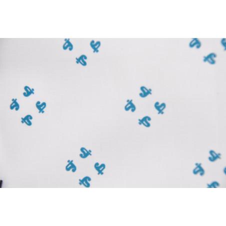 Tissu Toile, Imprimé, 140g/m², Blanc à motifs verts