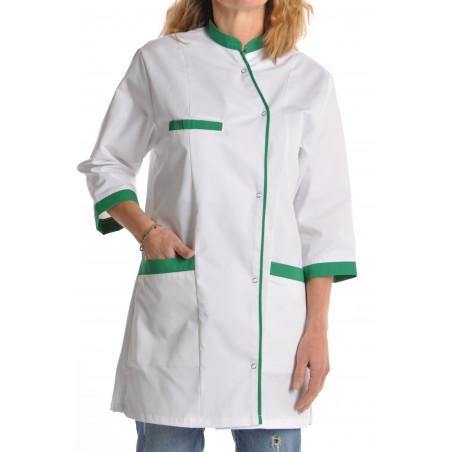 Veste médicale femme blanche et verte