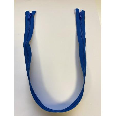 Fermeture à glissière plastique double curseur bouche à bouche maille 6 bleue 68 cm