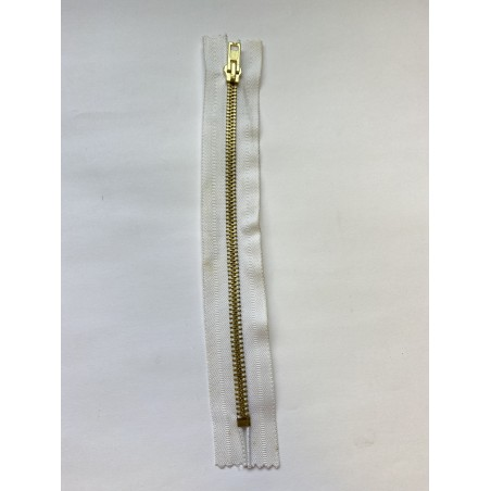 Fermeture à glissière métal standard maille 6 blanche 20 cm