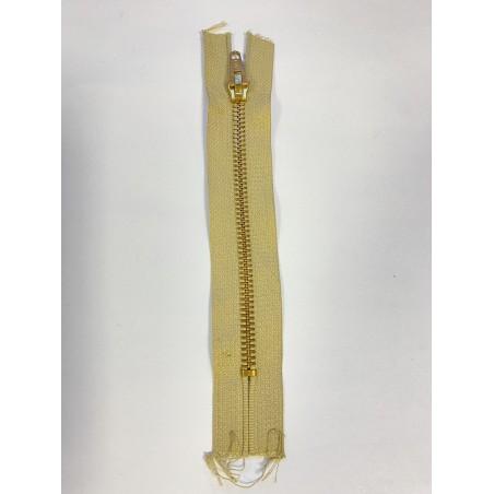 Fermeture à glissière métal standard maille 6 beige 15 cm