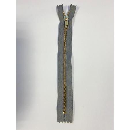 Fermeture à glissière métal standard maille 6 grise 18 cm