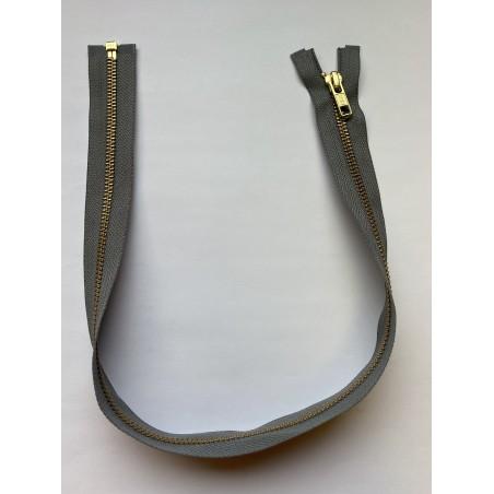 Fermeture à glissière métal séparable maille 6 grise 55 cm