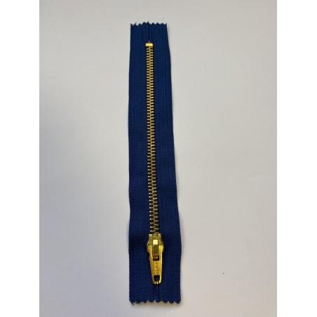 Fermeture à glissière métal standard maille 6 bleue 17 cm