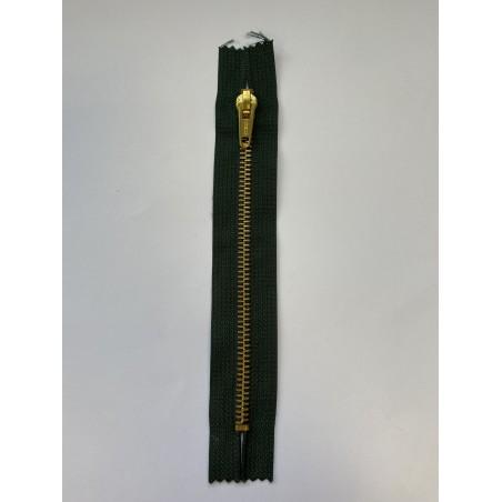 Fermeture à glissière métal standard maille 6 verte 17 cm