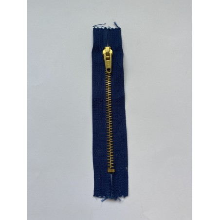 Fermeture à glissière métal standard maille 6 bleue 13 cm