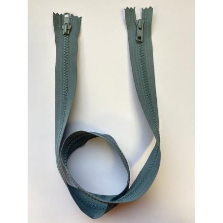 Fermeture à glissière injectée double curseur bouche à bouche maille 6 grise 75 cm