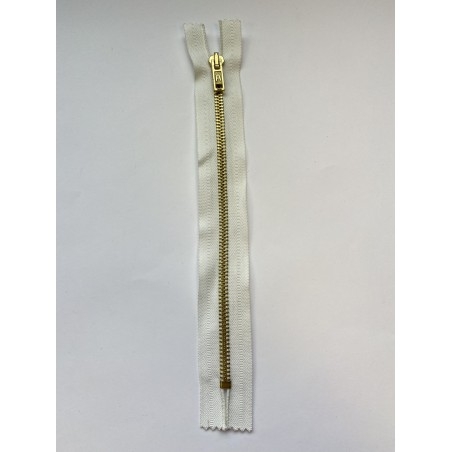 Fermeture à glissière métal standard maille 6 blanche 22 cm