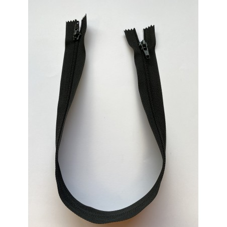 Fermeture à glissière nylon double curseur bouche à bouche maille 6 noire 50 cm