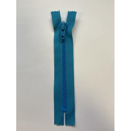 Fermeture à glissière plastique standard maille 6 bleue 15 cm