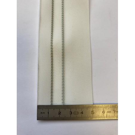 Sangle polyester blanche avec 2 liserés noirs 50 mm