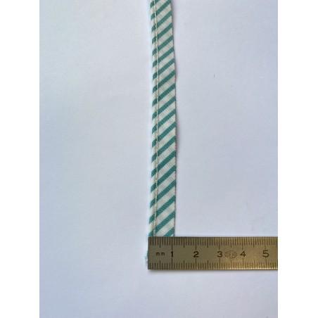 Passe-poil mèche polyester 2 mm blanc à rayures vertes 10 mm