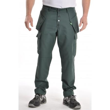 Pantalon multipoches vert coton/polyester