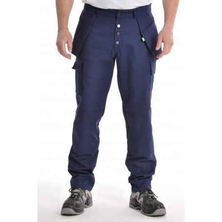 Pantalon multipoches marine Polyester/coton