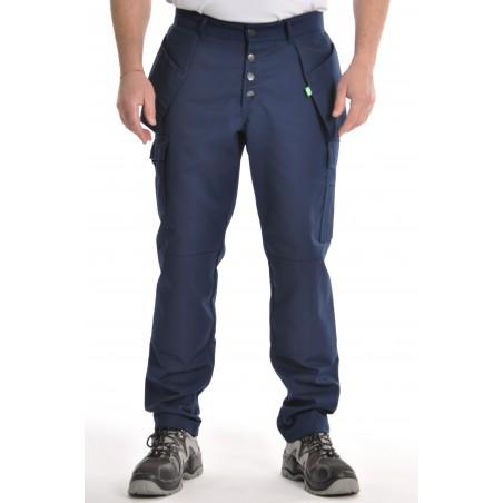 Pantalon multipoches Marine Coton/polyester