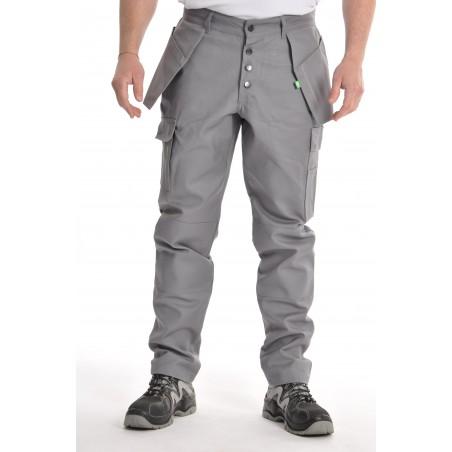 Pantalon multipoches gris coton