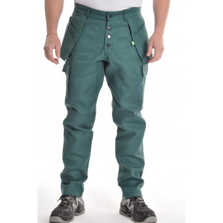 Pantalon multipoches vert coton