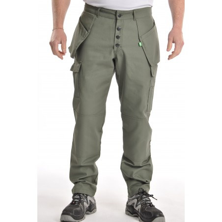 Pantalon multipoches Kaki