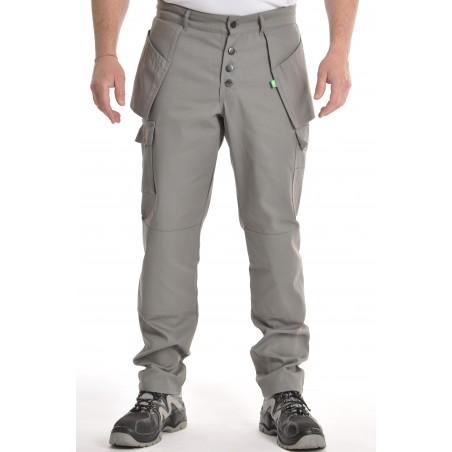 pantalon multipoches gris