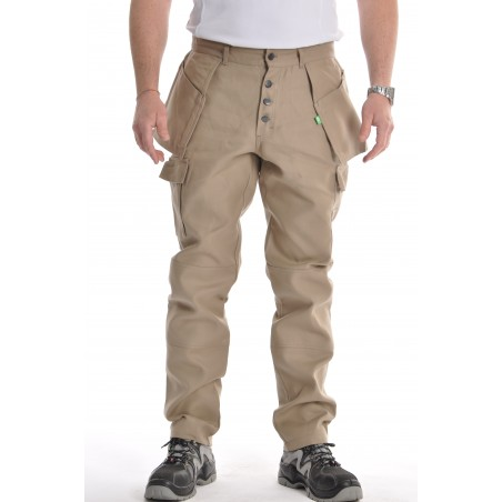 Pantalon multipoches beige