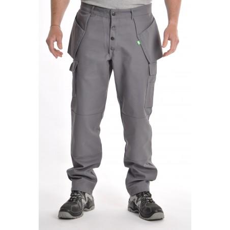 Pantalon gris multipoches coton / polyester