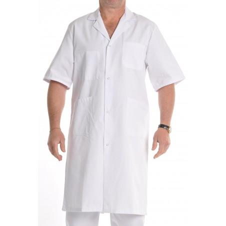 Blouse médicale homme blanche manches courtes