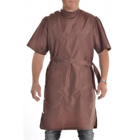 blouse nylon marron manches courtes