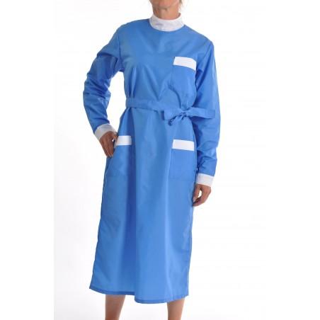 blouse nylon bleue