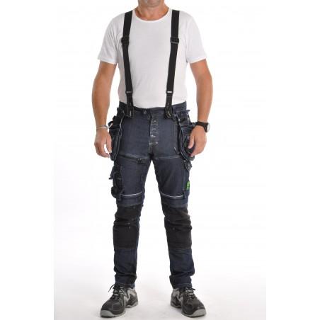 Pantalon multipoches denim avec bretelles