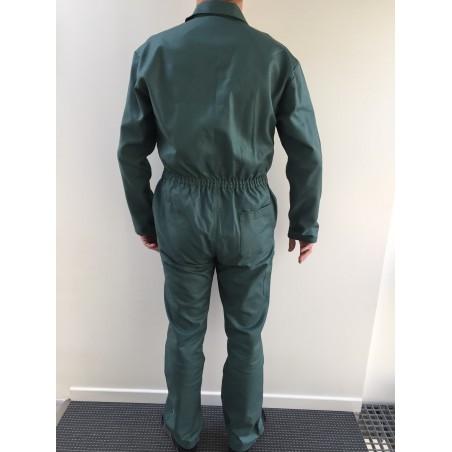 Combinaison de travail verte en coton zip central