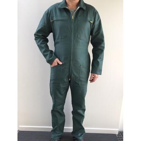 Combinaison de travail verte en majoritaire polyester zip central
