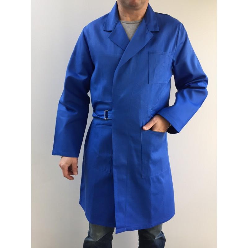 21c8de5ac3e90 Blouse de travail croisée 0901 bleu bugatti en coton